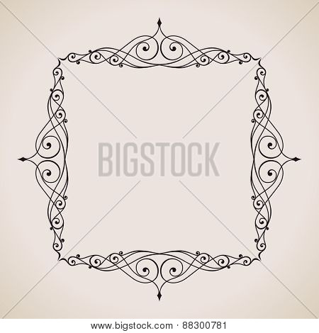 Calligraphic frame and page decoration. Vector background vintage illustration art emblem