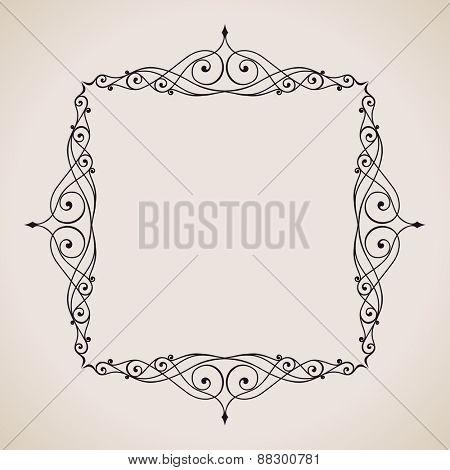 Calligraphic frame and page decoration. Vector background vintage illustration art emblem