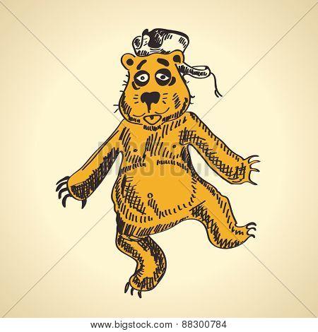 Hand drawn cartoon bear. funny drunk vector illustration