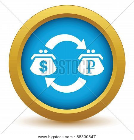 Gold dollar rouble exchange icon
