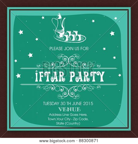 Islamic holy month of prayers Ramadan Kareem celebrations, invitation card design for Iftar Party.