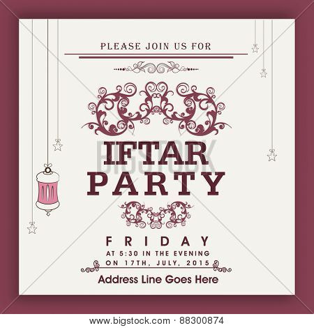 Floral design decorated Iftar party invitation card design in the Islamic holy month of prayers, Ramadan Kareem celebrations.