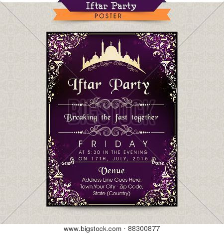 Beautiful floral card decorated invitation card design for Iftar Party celebrations in the holy month of prayers Ramadan Kareem celebrations.