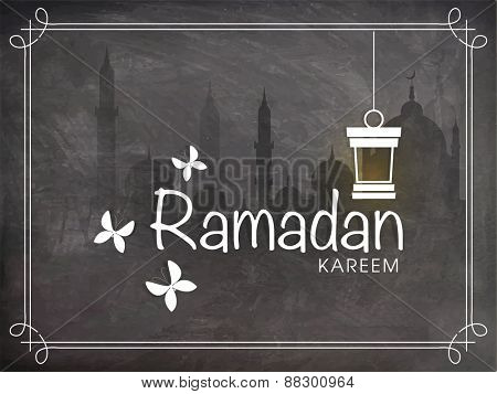Stylish text Ramadan Kareem with Arabic lantern and butterflies on Mosque silhouette chalkboard background for Muslim community festival celebration.