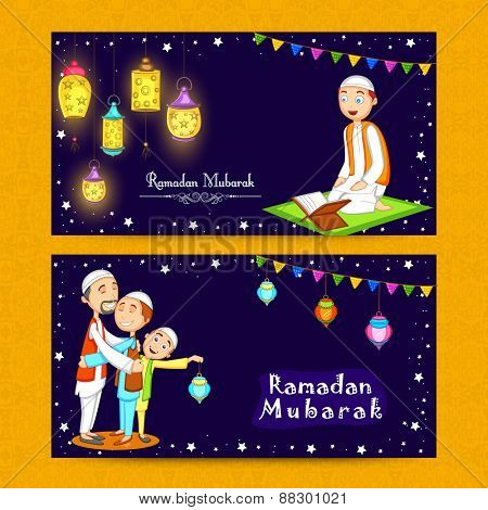 Beautiful website header or banner set decorated with Arabic lamps and Muslim people enjoying and celebrating on occasion of Ramadan Kareem.