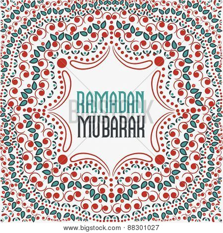 Beautiful floral design decorated pattern with wishing text Ramadan Mubarak for Muslim community festival celebration.
