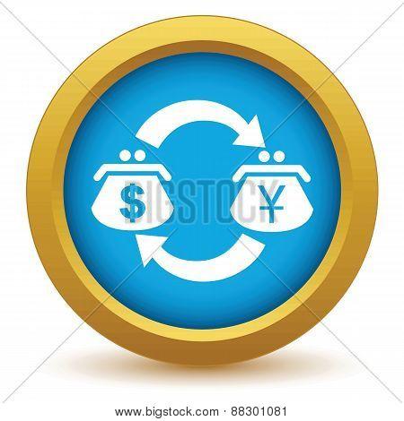 Gold dollar yen exchange icon