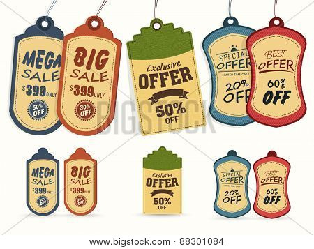 Collection of vintage tags or labels for Mega Sale with special discount offers.