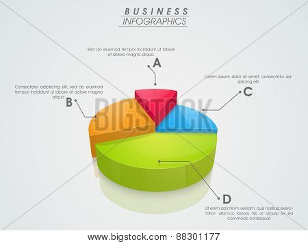 3D infographics pie chart showing professional data by different colors on grey background.
