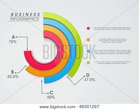 3D colorful infographic statistical graph on grey background for business presentation.