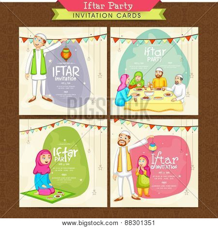 Holy month of Muslim community, Ramadan Kareem Iftar Party celebration invitation card set with illustration of happy Islamic people.
