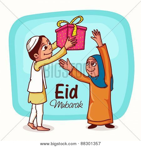 Happy islamic people enjoying and giving gifts to each other on occasion of muslim community festival, Eid Mubarak celebration.