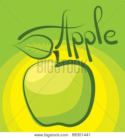vector apple with calligraphic inscription