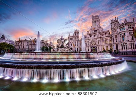 Madrid, Spain at Plaza de Cibeles.