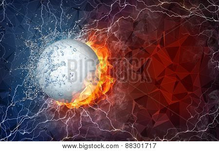 Golf ball on fire and water with lightening around on abstract polygonal background. Horizontal layout with text space.