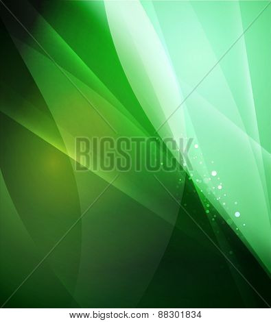 Color green and light, waves and lines. Abstract background