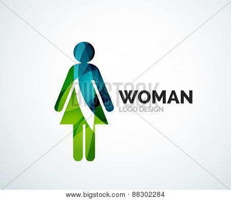 Abstract company logo design elemnet - woman icon