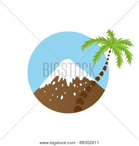 mountain top and palm tree, vector logo illustration
