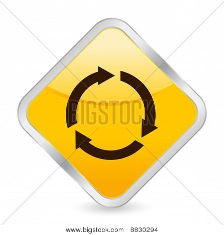 Recycle Yellow Square Icon