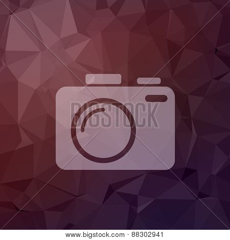 SLR Camera icon in flat style for web and mobile, modern minimalistic flat design. Vector white icon on abstract polygonal background