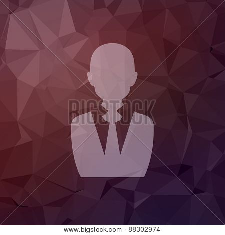 Businessman icon in flat style for web and mobile, modern minimalistic flat design. Vector white icon on abstract polygonal background