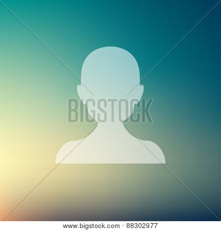 Young guy icon in flat style for web and mobile, modern minimalistic flat design. Vector white icon on gradient mesh background