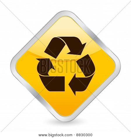 Recycle Symbol Yellow Square Icon