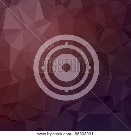 Target pad icon in flat style for web and mobile, modern minimalistic flat design. Vector white icon on abstract polygonal background