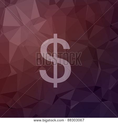 Dollar symbol icon in flat style for web and mobile, modern minimalistic flat design. Vector white icon on abstract polygonal background