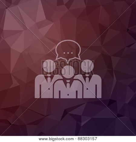 Three young men with speech bubbles  icon in flat style for web and mobile, modern minimalistic flat design. Vector white icon on abstract polygonal background