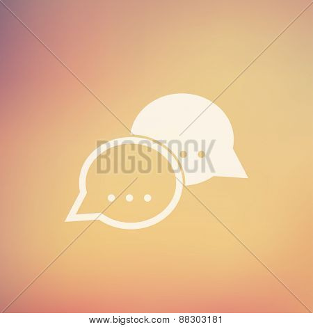 Two speech bubbles icon in flat style for web and mobile, modern minimalistic flat design. Vector white icon on gradient mesh background
