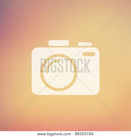 SLR Camera icon in flat style for web and mobile, modern minimalistic flat design. Vector white icon on gradient, mesh background