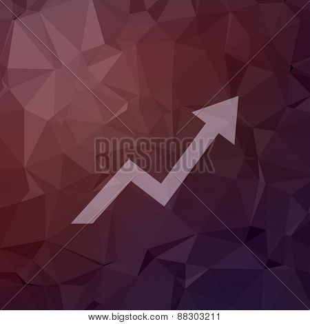 Lightning arrow upward icon in flat style for web and mobile, modern minimalistic flat design. Vector white icon on  abstract polygonal background.