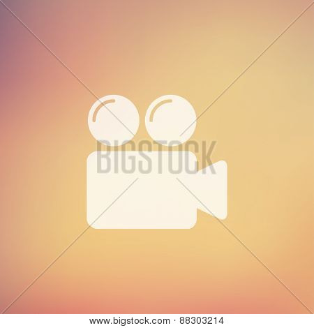 Video camera bubbles icon in flat style for web and mobile, modern minimalistic flat design. Vector white icon on gradient mesh background