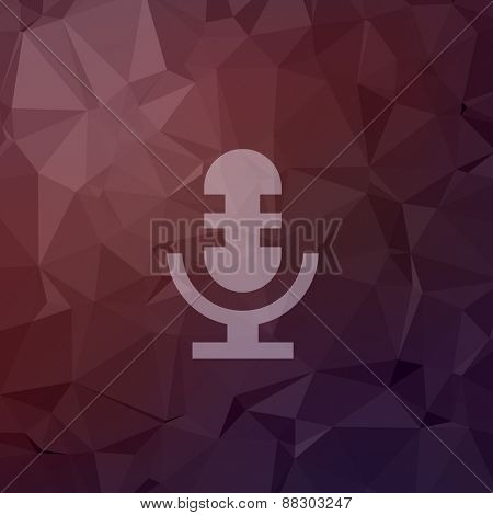 Retro microphone icon in flat style for web and mobile, modern minimalistic flat design. Vector white icon on abstract polygonal background