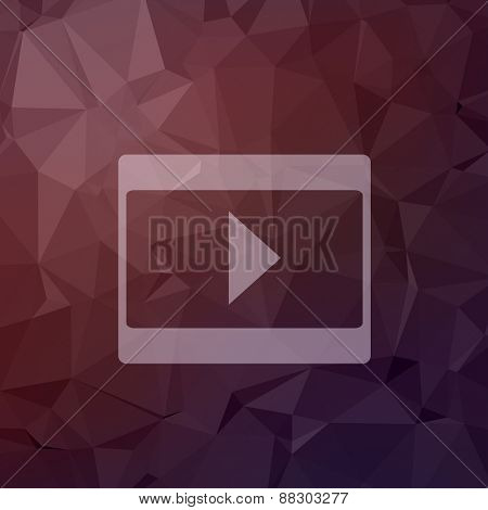 Play button icon in flat style for web and mobile, modern minimalistic flat design. Vector white icon on abstract polygonal background