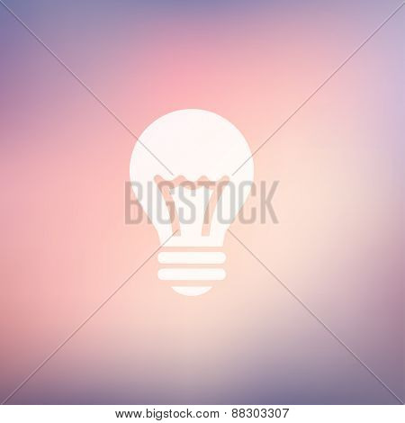 Bulb idea icon in flat style for web and mobile, modern minimalistic flat design. Vector white icon on gradient mesh background