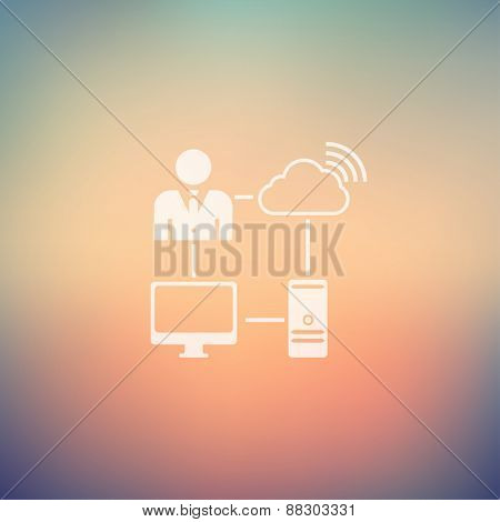 Man using internet icon in flat style for web and mobile, modern minimalistic flat design. Vector white icon on gradient mesh background