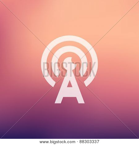 Antenna icon in flat style for web and mobile, modern minimalistic flat design. Vector white icon gradient mesh background