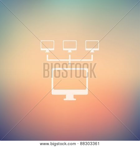 Computer with three cameras icon in flat style for web and mobile, modern minimalistic flat design. Vector white icon on gradient mesh background