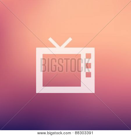Retro television icon in flat style for web and mobile, modern minimalistic flat design. Vector white icon on gradient mesh background