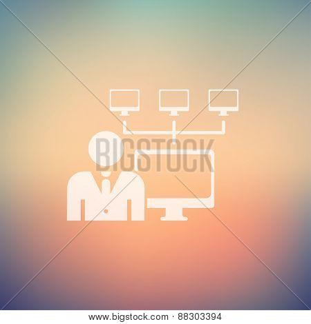 Man, computer with camera icon in flat style for web and mobile, modern minimalistic flat design. Vector white icon on gradient, mesh background