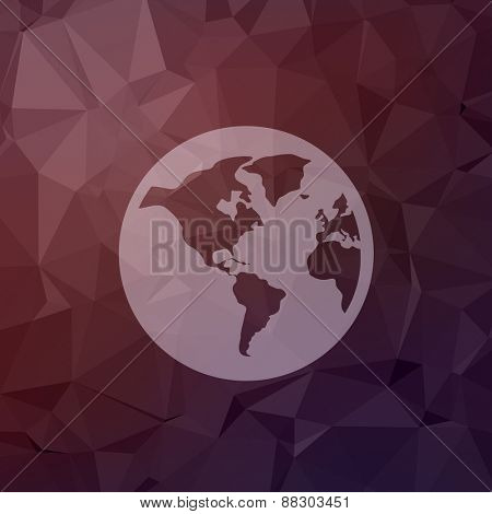Globe icon in flat style for web and mobile, modern minimalistic flat design. Vector white icon on abstract polygonal background