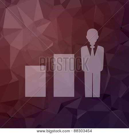 Man in growing diagram icon in flat style for web and mobile, modern minimalistic flat design. Vector white icon on abstract polygonal background