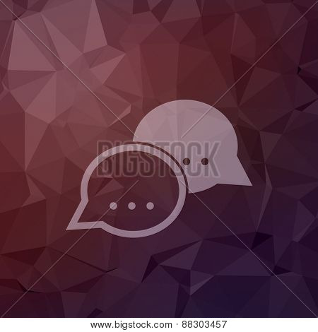 Two speech bubbles icon in flat style for web and mobile, modern minimalistic flat design. Vector white icon on abstract polygonal background