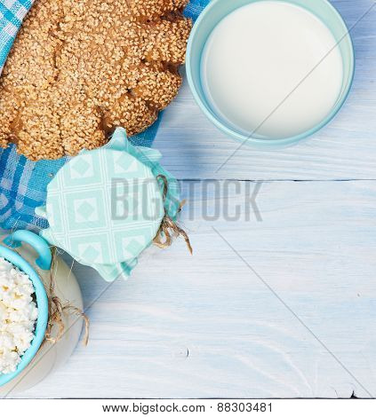 Milk products. Healthy food. View from the top