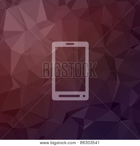 Mobile phone icon in flat style for web and mobile, modern minimalistic flat design. Vector white icon on abstract polygonal background