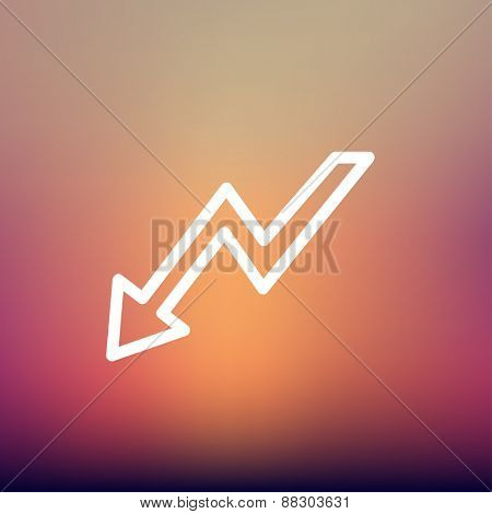 Lightning arrow downward icon thin line for web and mobile, modern minimalistic flat design. Vector white icon on gradient mesh background.