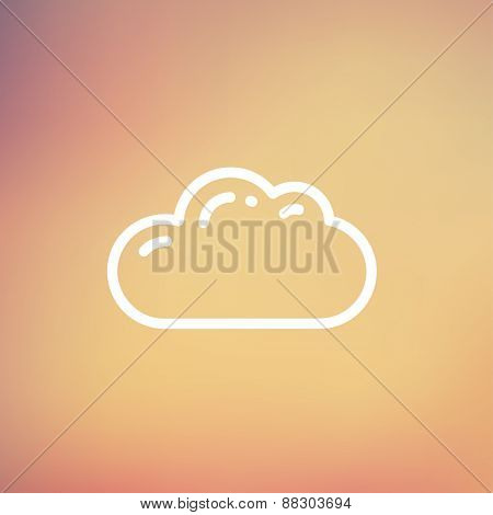 Cloud icon thin line for web and mobile, modern minimalistic flat design. Vector white icon on gradient mesh background.