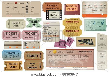 World traveler tickets collection in vintage style